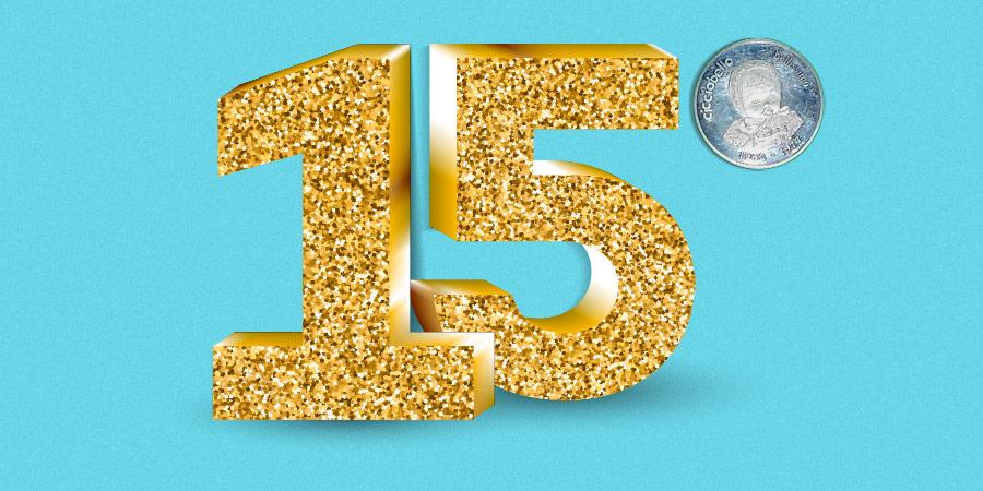 quindici dorato, su fondo celeste, con moneta argento di Cicciobello