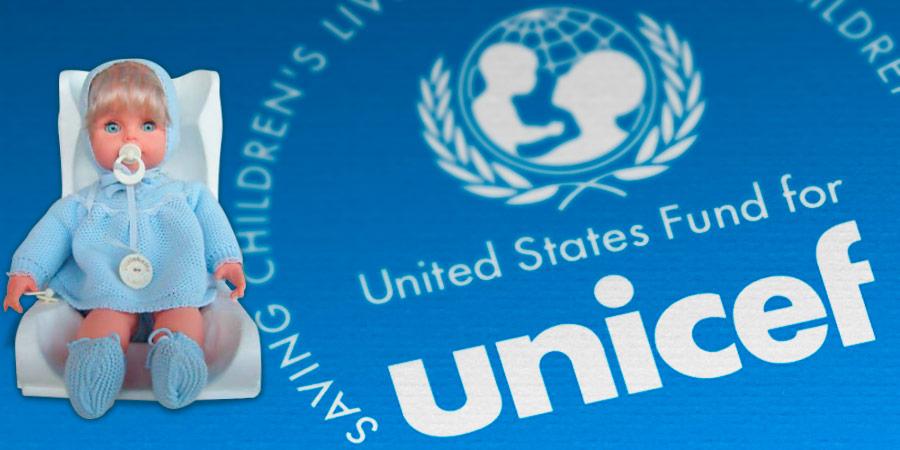 Cicciobello e il simbolo anni 80 unicef