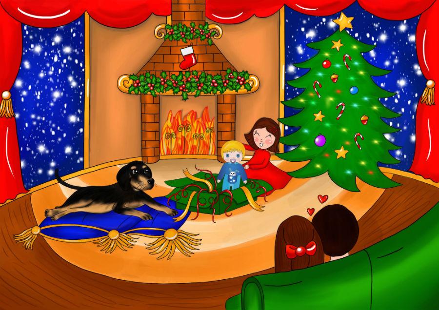 Storie di cani: disegno che mostra il cane Candito con Cicciobello Bua davanti al camino e all'albero di Natale