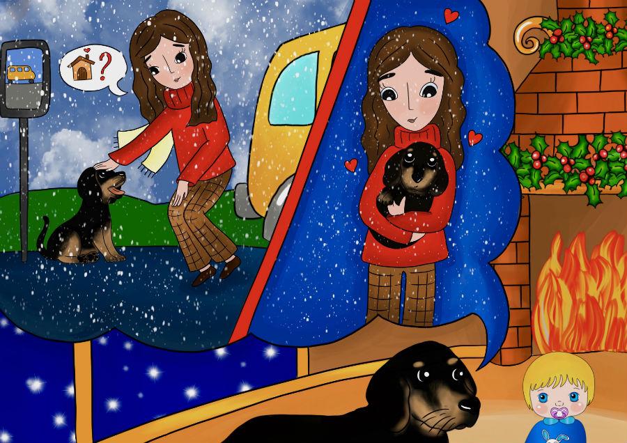 Storie di cani: disegno in cui il cane Candito incontra una ragazza gentile