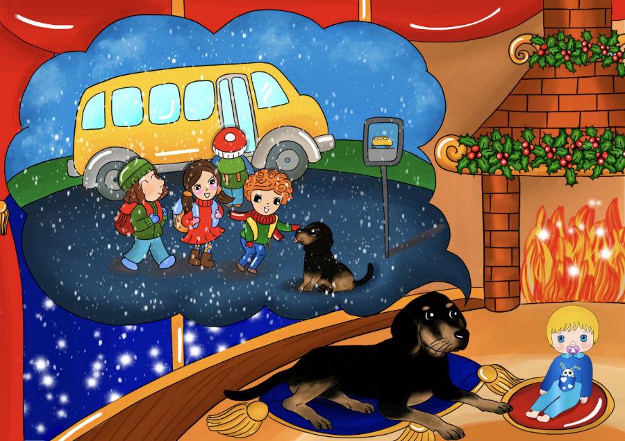 Storie di cani: disegno in cui il cane Candito racconta a Cicciobello la sua storia