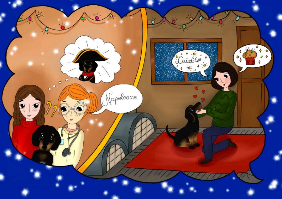 Storie di cani: disegno in cui il cane Candito incontra la veterinaria Donatella