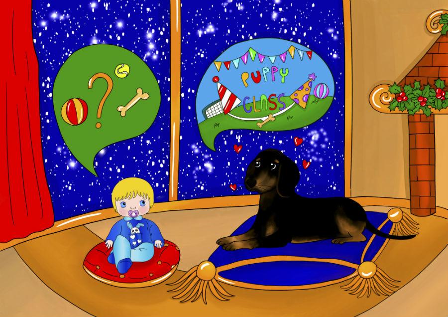 Storie di cani: disegno in cui il cane Candito racconta a Cicciobello della puppy class