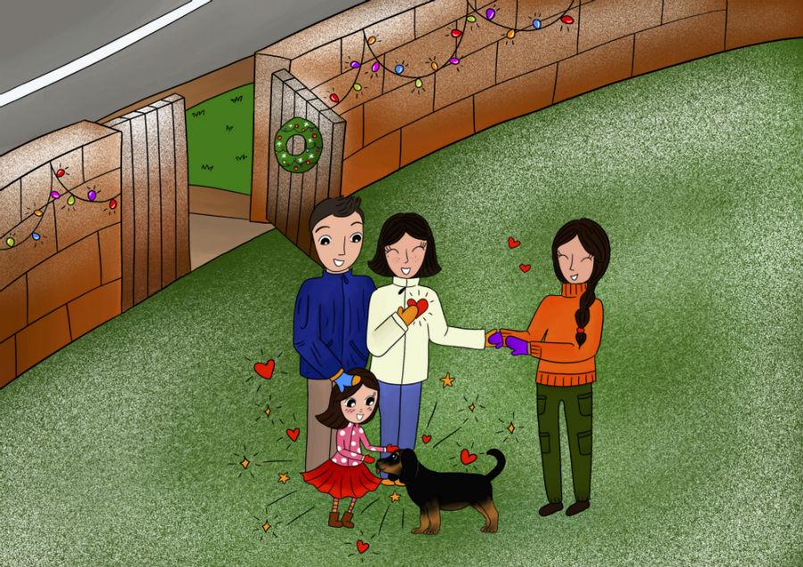 Storie di cani: disegno in cui il cane Candito racconta a Cicciobello della nuova famiglia