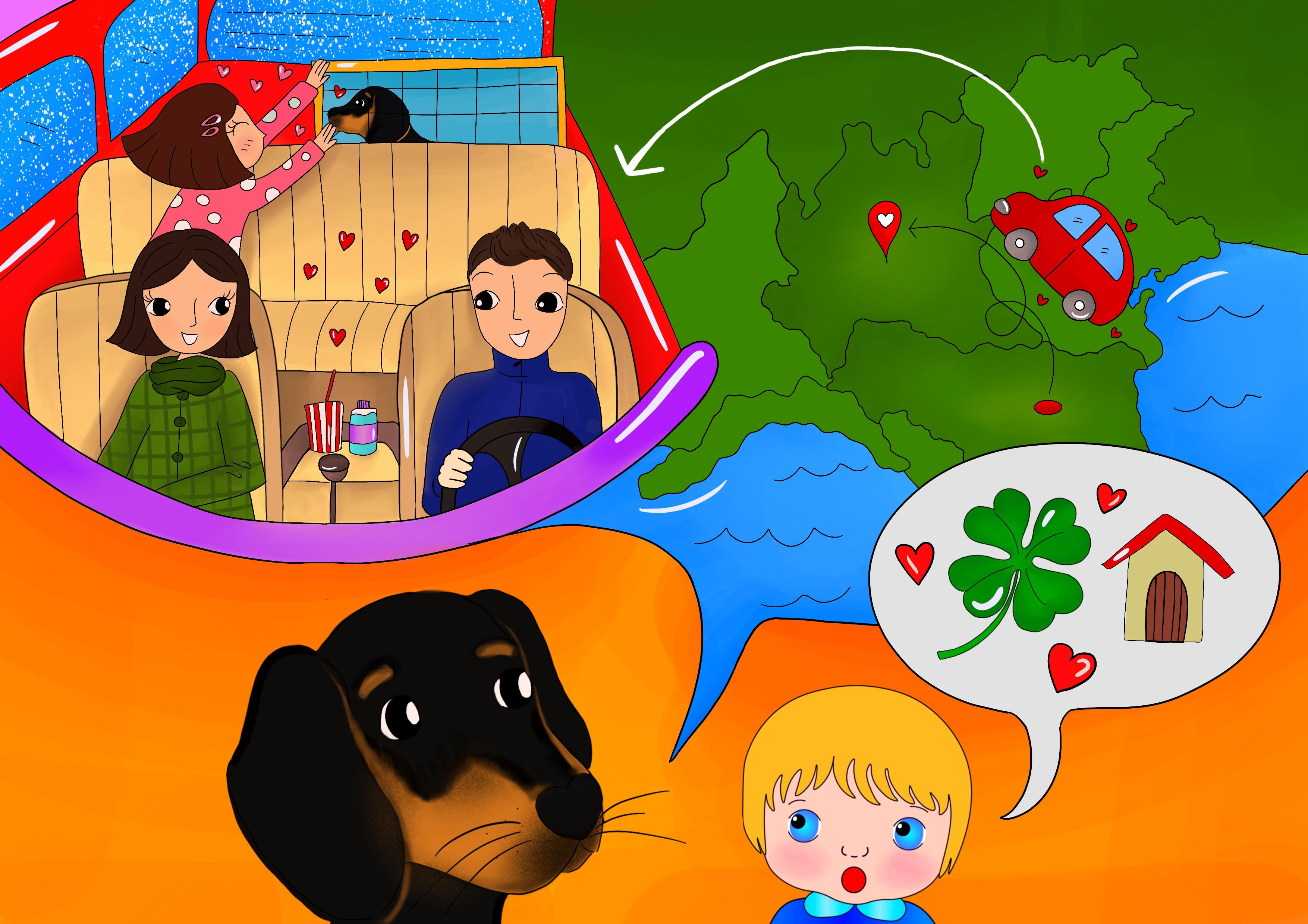 Storie di cani: disegno in cui il cane Candito racconta a Cicciobello del viaggio verso casa.