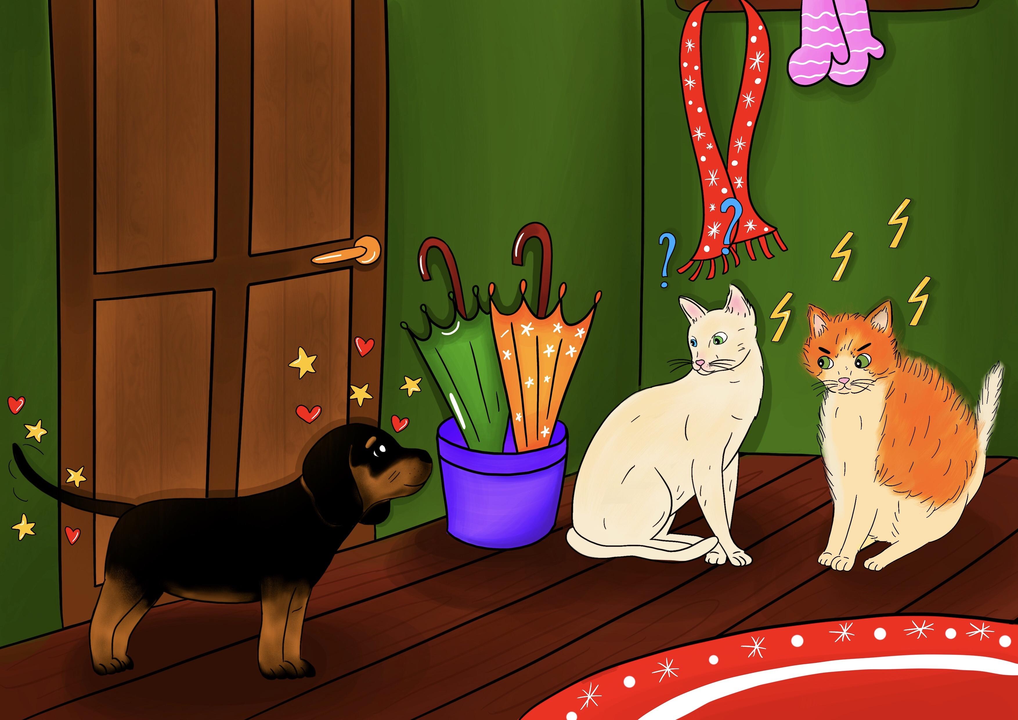 Storie di cani: il cane Candito racconta a Cicciobello di aver conosciuto due gatte