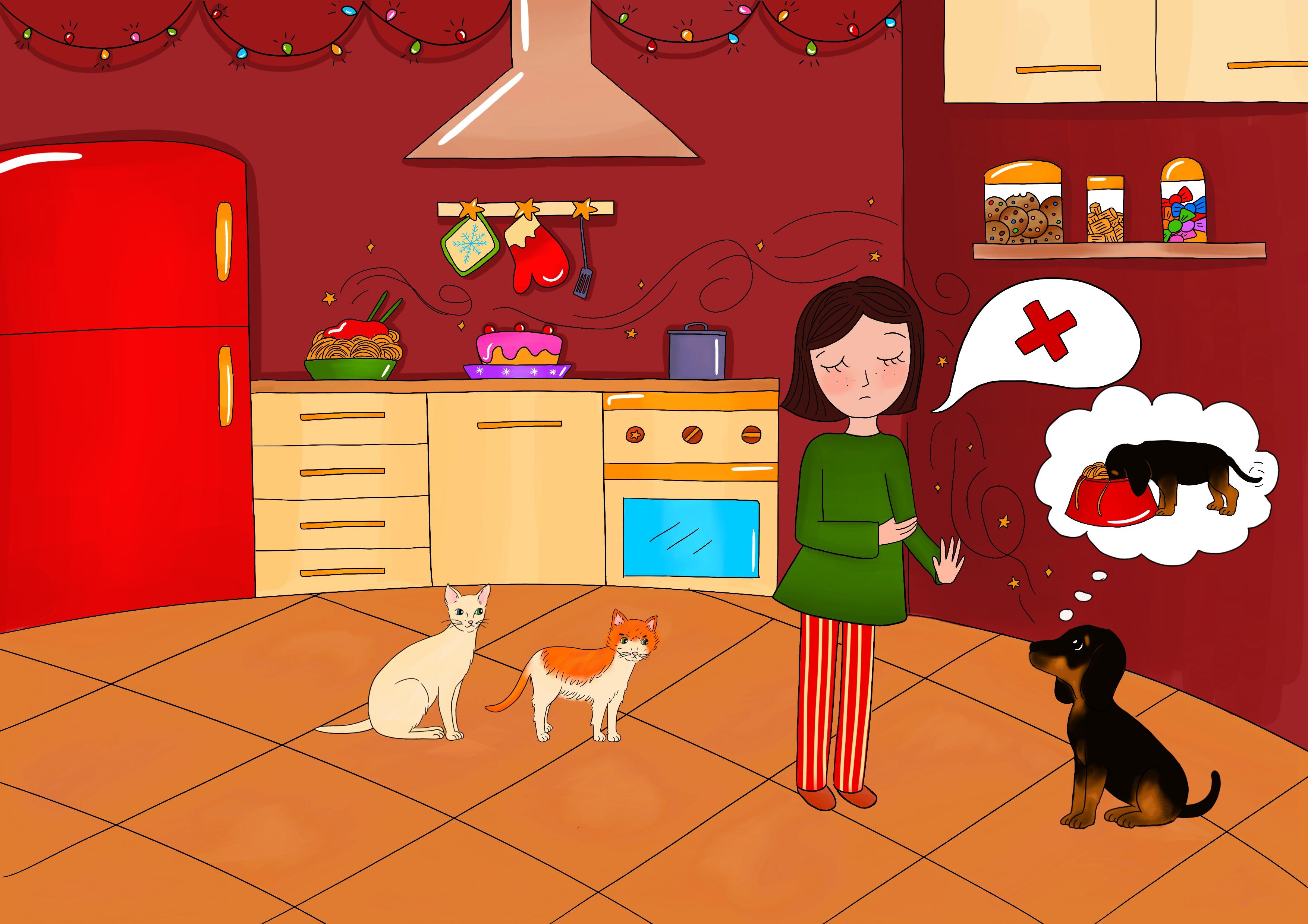Candito racconta a Cicciobello di non poter entrare in cucina