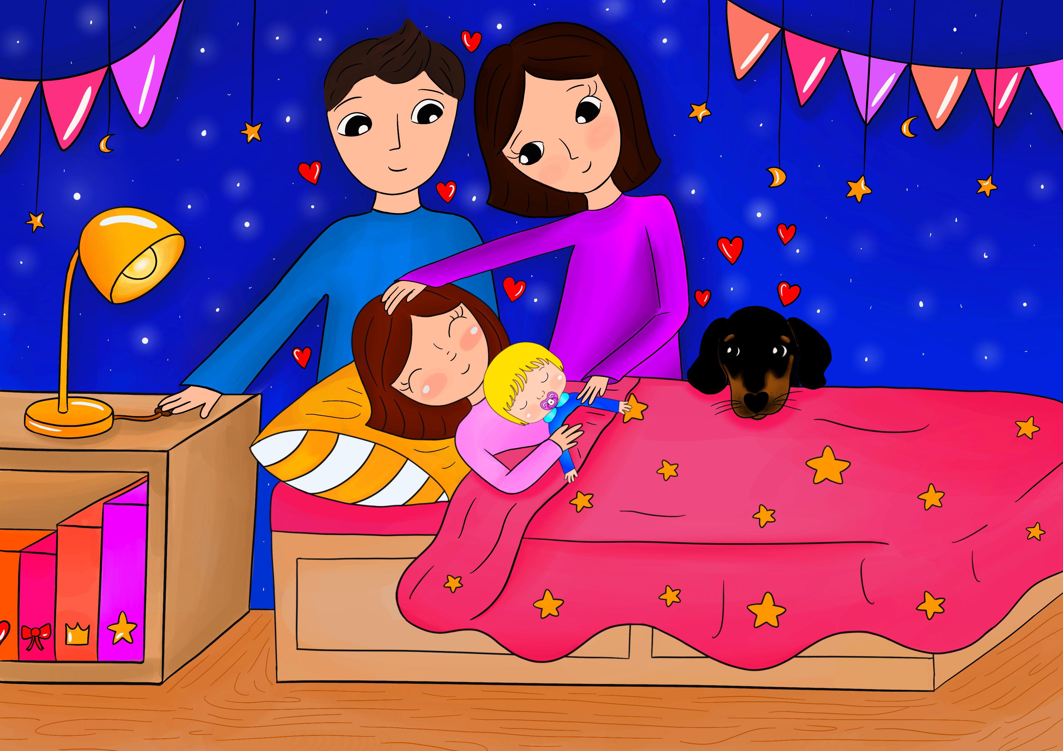 Candito racconta a Cicciobello della buonanotte a Sara con i suoi genitori