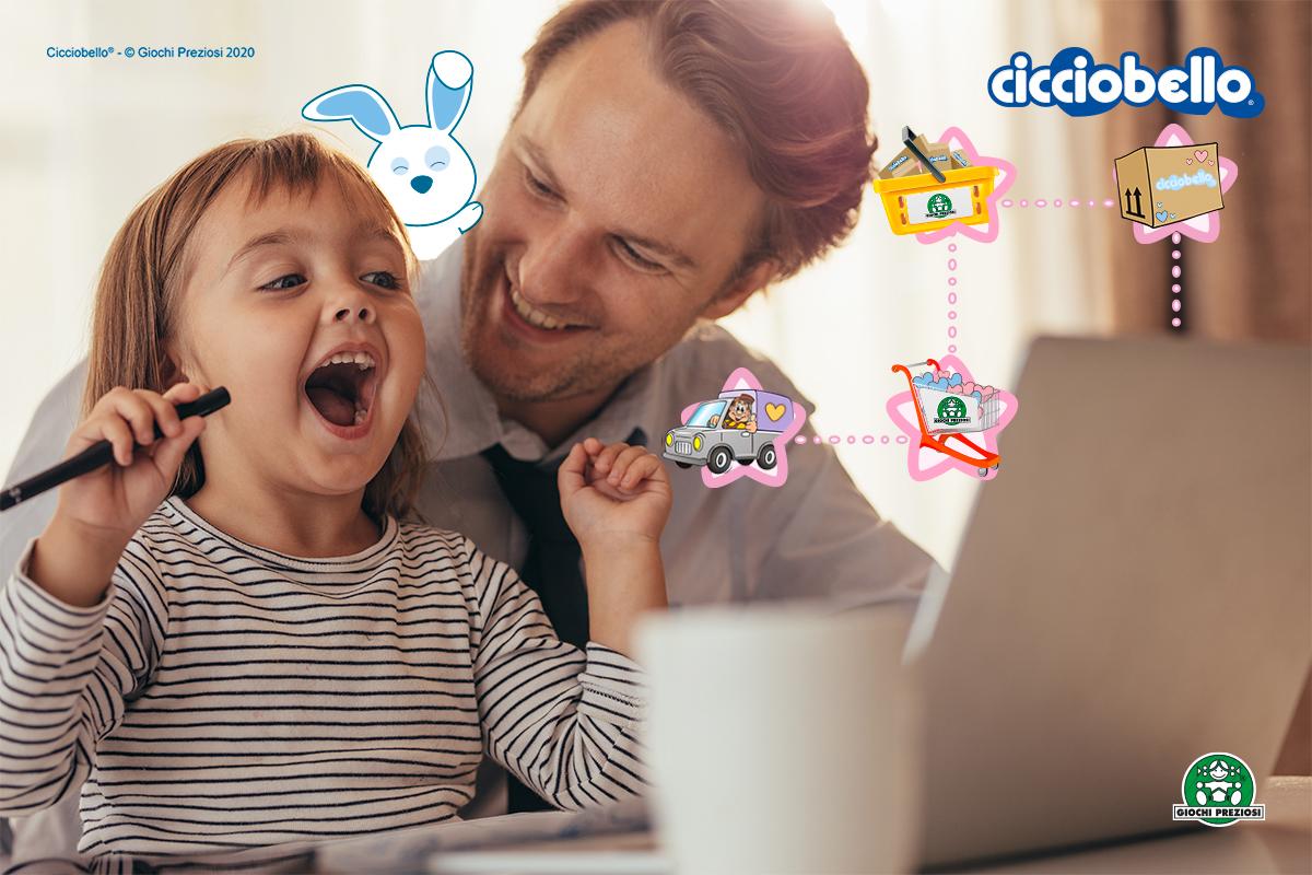 Bimba e papà acquistano Cicciobello sull'E-commerce ufficiale Giochi Preziosi